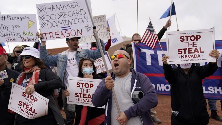 Supporters of President Donald Trump protest outside of the Clark County Elections Department in North Las Vegas, Nev., Saturday, Nov. 7, 2020. (AP Photo / John Locher)