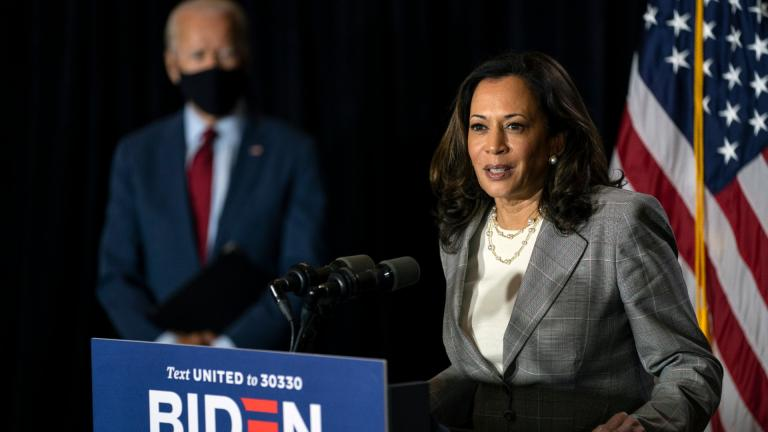In this Aug. 13, 2020, file photo Democratic presidential candidate former Vice President Joe Biden stands left as his running mate Sen. Kamala Harris, D-Calif., speaks at the Hotel DuPont in Wilmington, Del. Democrats insist the GOP's grip on this Deep South state is weakening. (AP Photo / Carolyn Kaster, File)