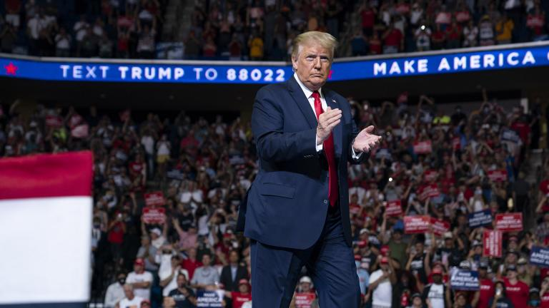 President Donald Trump arrives on stage to speak at a campaign rally at the BOK Center, Saturday, June 20, 2020, in Tulsa, Okla. (AP Photo / Evan Vucci)