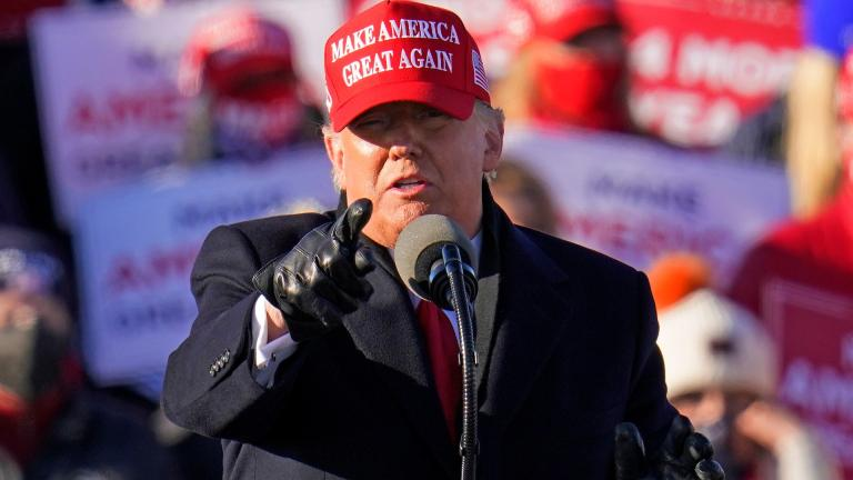 President Donald Trump gestures while addressing a campaign rally at the Wilkes-Barre Scranton International Airport in Avoca, Pa, Monday, Nov. 2, 2020. (AP Photo / Gene J. Puskar)