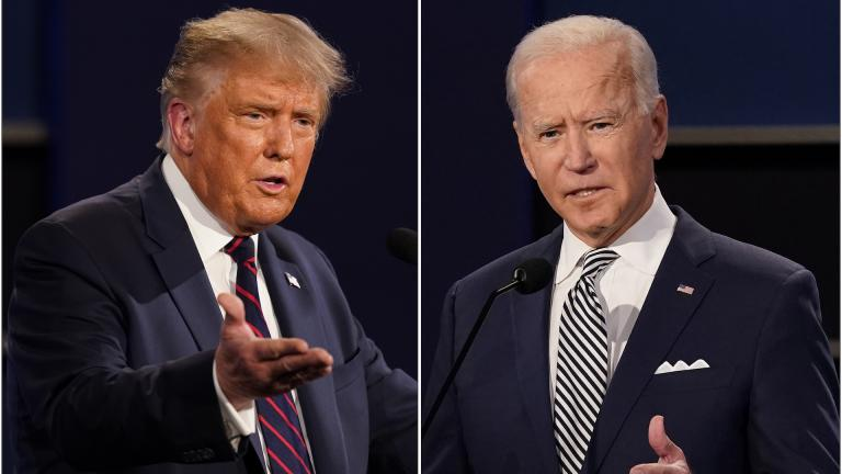 This combination of Sept. 29, 2020, file photos shows President Donald Trump, left, and former Vice President Joe Biden during the first presidential debate at Case Western University and Cleveland Clinic, in Cleveland, Ohio. (AP Photo / Patrick Semansky, File)