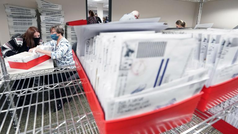 In this Nov. 5, 2020, photo, Lehigh County workers count ballots as vote counting in the general election continues in Allentown, Pa. (AP Photo / Mary Altaffer)