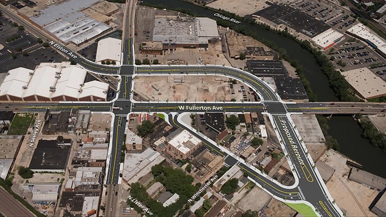 A bird's eye view of the proposed reroute of Elston Avenue. (Credit: Chicago Department of Transportation)
