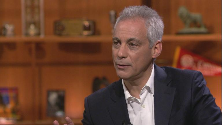 "Mayor Rahm Emanuel appears on ""Chicago Tonight"" on Monday, May 13, 2019."