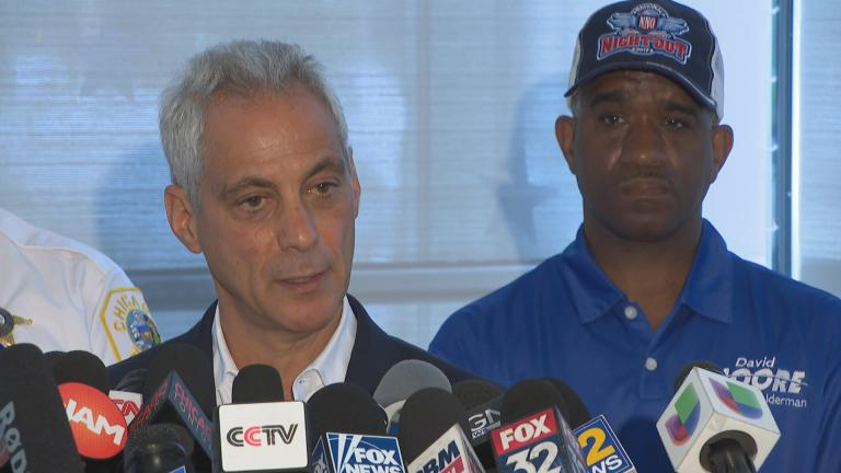 Mayor Rahm Emanuel speaks to the media on Monday, Aug. 6, 2018 about Chicago's violent weekend.