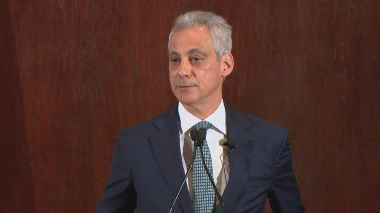 Outgoing Chicago Mayor Rahm Emanuel speaks at the City Club on Thursday, May 2, 2019.