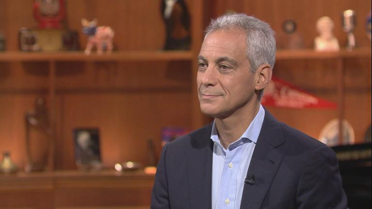 "Mayor Rahm Emanuel appears on ""Chicago Tonight"" on June 28, 2018."