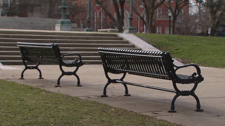 Empty benches in Logan Square on March 24, 2020. (WTTW News)