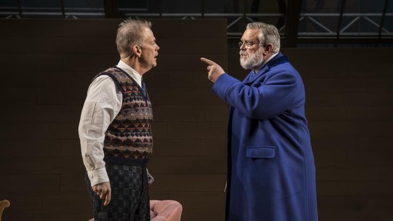"Philip Earl Johnson (Thomas Stockmann) and Scott Jaeck (Peter Stockmann) in ""An Enemy of the People"" by Henrik Ibsen, adapted and directed by Robert Falls at Goodman Theatre. (Credit: Liz Lauren)"
