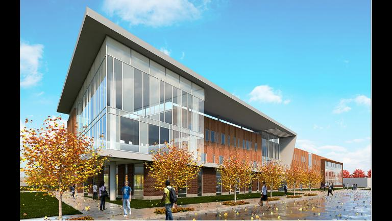 A rendering of the proposed 1,200-student Englewood high school building. (Chicago Public Schools)