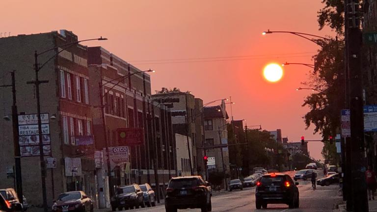 Chicago's east-west streets are the best place to view the fall equinox sunset. (Patty Wetli / WTTW)