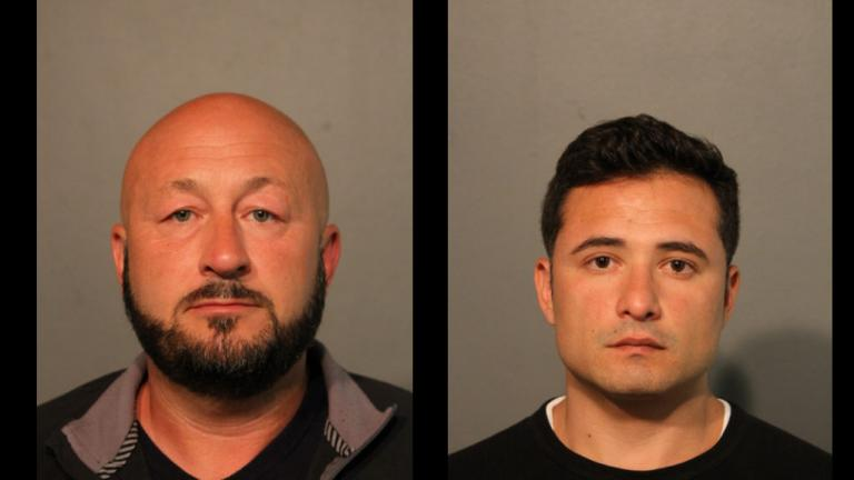 Former Chicago police Sergeant Eric Elkins, left, and Giovanni Rodriguez both face multiple felony charges. (Chicago Police Department)