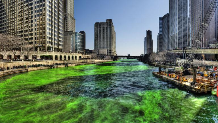 Saturday's annual dyeing of the Chicago River celebrates St. Patrick's Day a little early. (Mike Boehmer / Wikimedia)