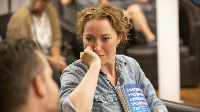 """Rebecca Spence in """"Every Brilliant Thing."""" (Photo credit: Michael Brosilow)"""