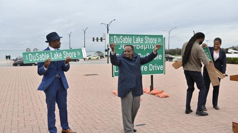 Ald. David Moore (17th Ward) and Mayor Lori Lightfoot, left, celebrate the renaming of Lake Shore Drive to honor Jean-Baptiste Pointe DuSable on Thursday, Oct. 21. (Credit: Chicago's Mayor Office)