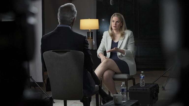 """In this Sept. 16, 2021, photo provided by CBS, Facebook whistleblower Frances Haugen talks with CBS' Scott Pelley on """"60 Minutes,"""" in an episode that aired Sunday, Oct. 3. (Robert Fortunato / CBS News / 60 Minutes via AP)"""