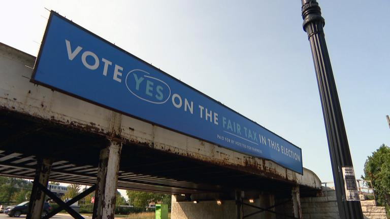 A billboard in Chicago promotes voting in favor of the so-called fair tax in the November 2020 election. (WTTW News)
