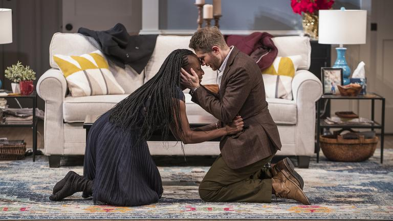 "Lanise Antoine Shelley and Erik Hellman in Steppenwolf's Chicago premiere production of ""Familiar"" by Danai Gurira. (Photo by Michael Brosilow)"