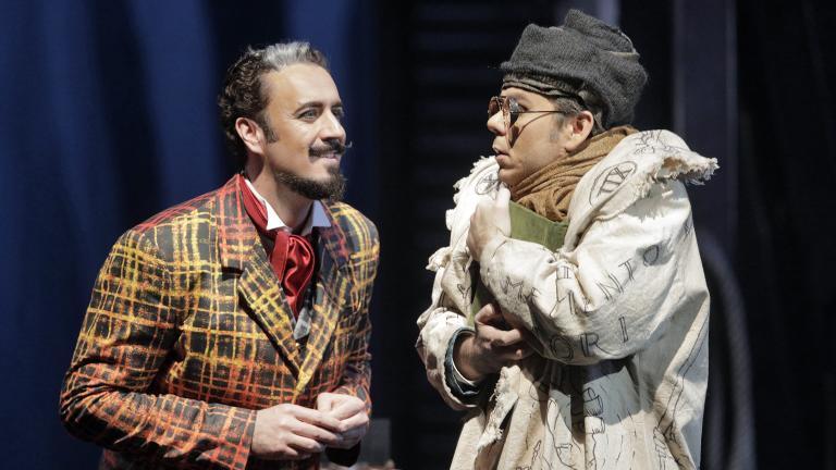 """Christian Van Horn and Benjamin Bernheim in """"Faust"""" at Lyric Opera of Chicago. (Credit: Cory Weaver)"""