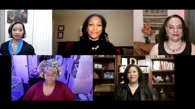 "A screenshot from the ""Black Voices"" community conversation on Monday, Feb. 22, 2021. (WTTW News)"