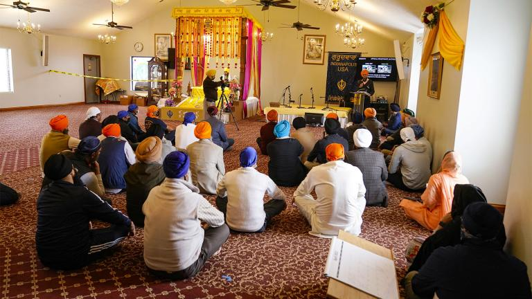 Members of the Sikh Coalition gather at the Sikh Satsang of Indianapolis in Indianapolis, Saturday, April 17, 2021 to formulate the groups response to the shooting at a FedEx facility in Indianapolis that claimed the lives of four members of the Sikh community. (AP Photo / Michael Conroy)