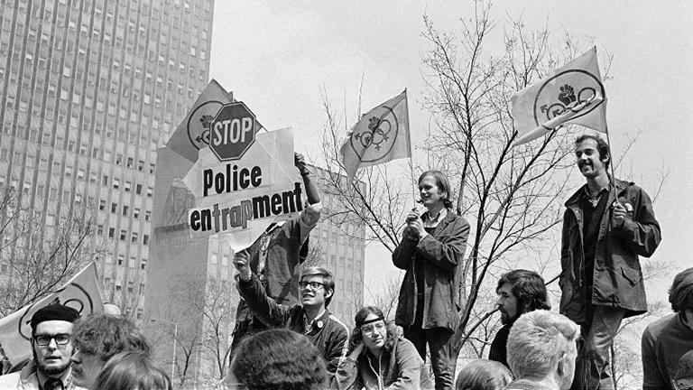 Close-up of protesters at gay-liberation rally in Grant Park, April 1970. (Margaret Olin)