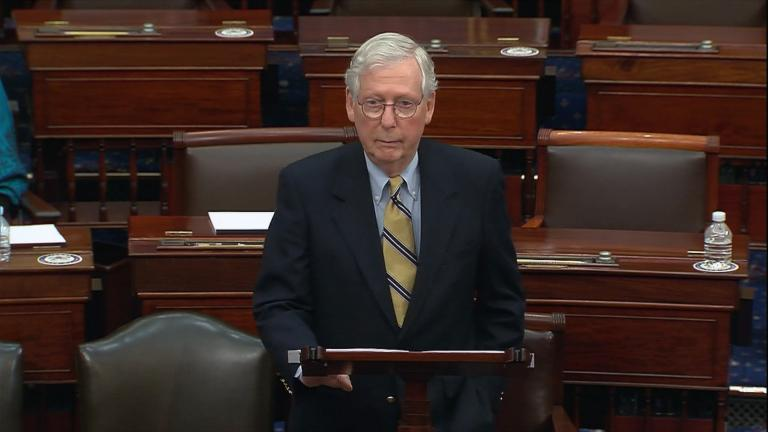 "Senate minority leader Mitch McConnell has said ending the filibuster would bring a ""nuclear winter"" on the Senate floor. (WTTW News)"