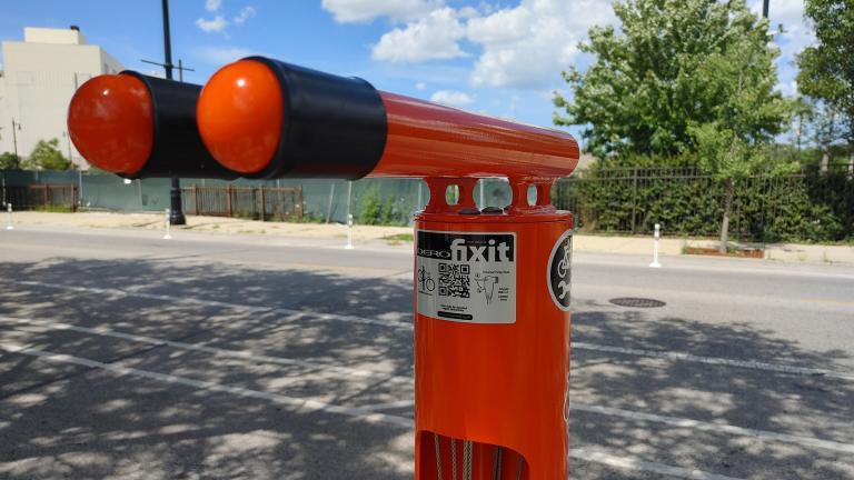 A Dero Fixit bike repair station near Milwaukee and Kilpatrick avenues in Portage Park. (Erica Gunderson / WTTW News)
