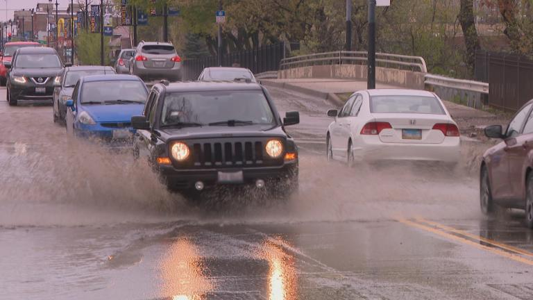Standing water along Foster Avenue near River Park on May 1, 2019 was caused by catch basins that filled with debris and drained slowly, according to a spokesperson for the Chicago Department of Transportation.