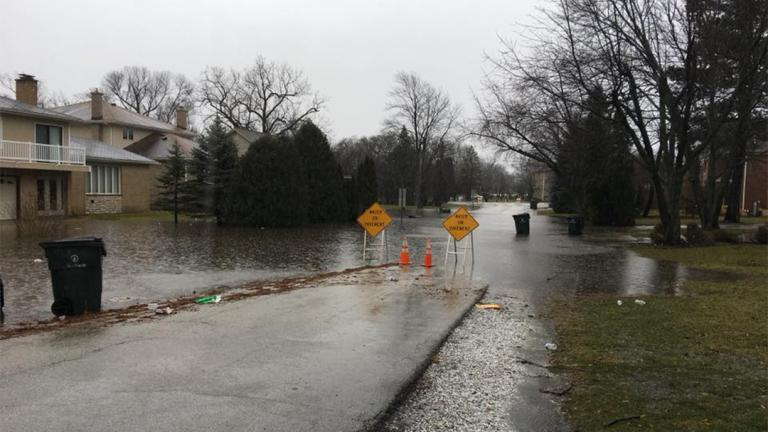 Flooding in suburban Glenview on Feb. 20. (Chicagoland Flood Forum / Facebook)
