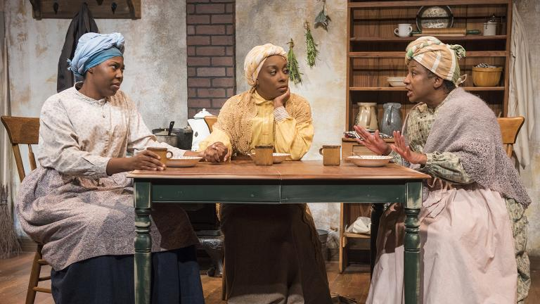 "From left: Tiffany Oglesby, Sydney Charles and Joslyn Jones in American Blues Theater's production of ""Flyin' West."" (Photo by Michael Brosilow)"