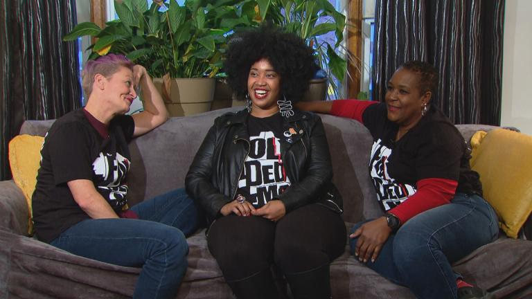 "Tonika Johnson, center, with ""map twins"" Carmen Arnold-Stratton, right, and Bridghid O'Shaughnessy, left. (WTTW News)"