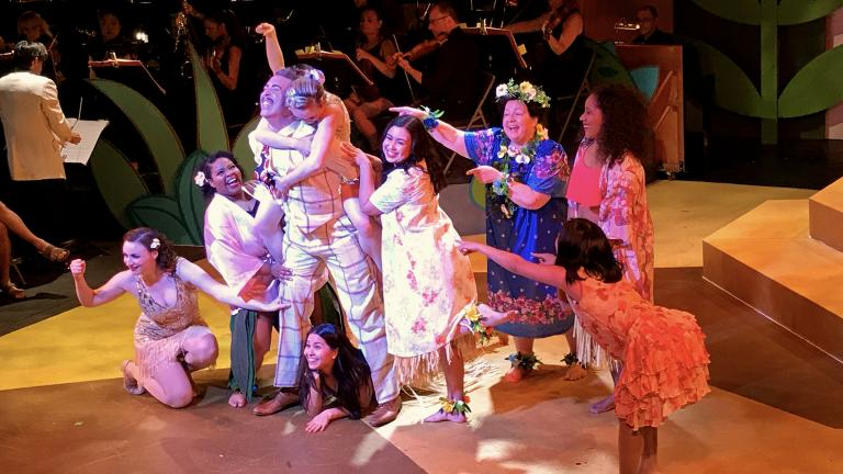 "From left: Sarah Ruth Mikulski, Cydney Washington, William Roberts, Clara Imon Pedtke, Elena Avila, Rose Guccione, Ysaye McKeever and Angela Yu in ""The Flower of Hawaii."" (Courtesy of Folks Operetta)"