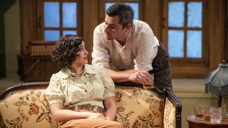 "Krystal Ortiz and Matt Fletcher in Griffin Theatre Company's production of ""For Services Rendered."" (Photo by Michael Brosilow)"