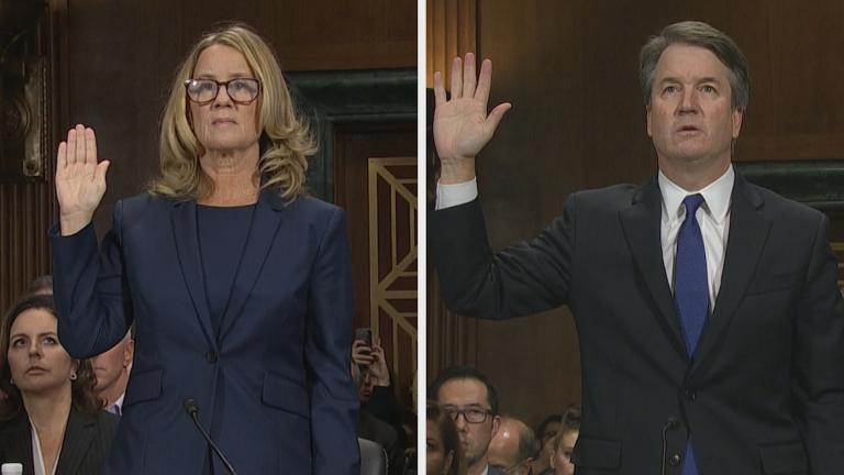 Christine Blasey Ford and Brett Kavanaugh are sworn in Thursday, Sept. 27, 2018 before the Senate Judiciary Committee.