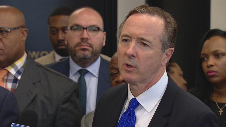 CPS CEO Forrest Claypool speaks to the press in April 2017. (Chicago Tonight)