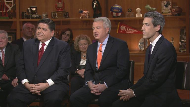 "Candidates J.B. Pritzker, left, Chris Kennedy, center, and Daniel Biss appear on ""Chicago Tonight"" on March 14, 2018."