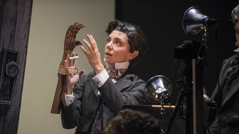 """Sarah Fornace in """"Frankenstein"""" by Manual Cinema at Court Theatre. (Photo by Michael Brosilow)"""