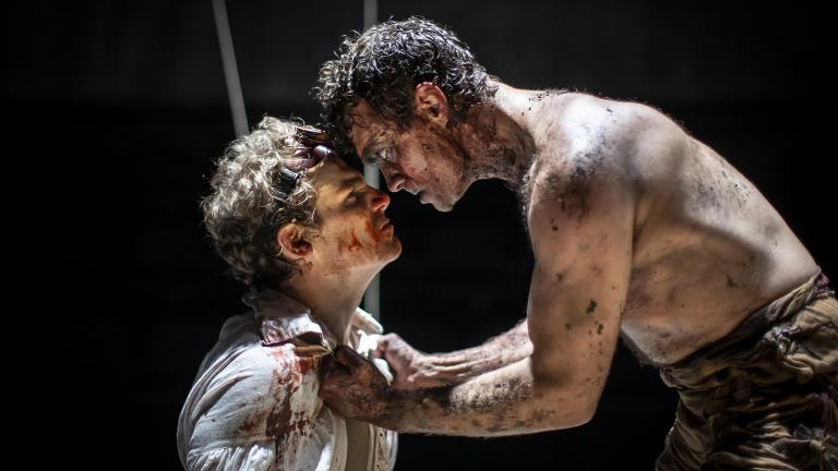 "Lookingglass Theatre Company Artistic Associate Walter Briggs, left, and Keith Gallagher in ""Frankenstein."" (Photo by Liz Lauren)"
