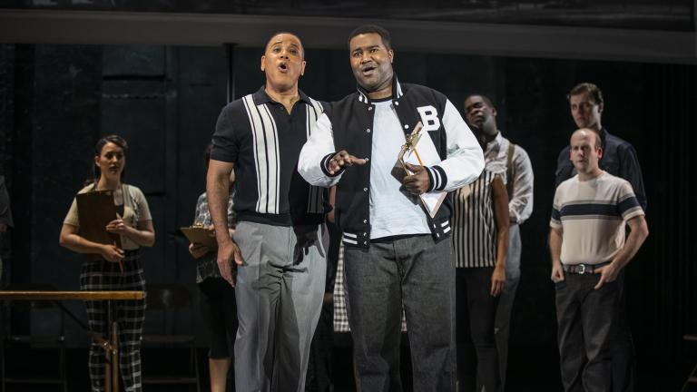 "Robert Sims and Tyrone Chambers, II in Chicago Opera Theater's ""Freedom Ride."" (Photo credit: Michael Brosilow)"