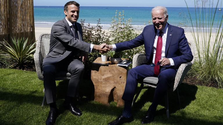 President Joe Biden and French President Emmanuel Macron visit during a bilateral meeting at the G-7 summit, Saturday, June 12, 2021, in Carbis Bay, England. (AP Photo / Patrick Semansky)