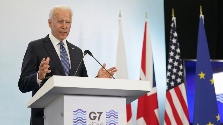 President Joe Biden speaks during a news conference after attending the G-7 summit, Sunday, June 13, 2021, at Cornwall Airport in Newquay, England. (AP Photo / Patrick Semansky)