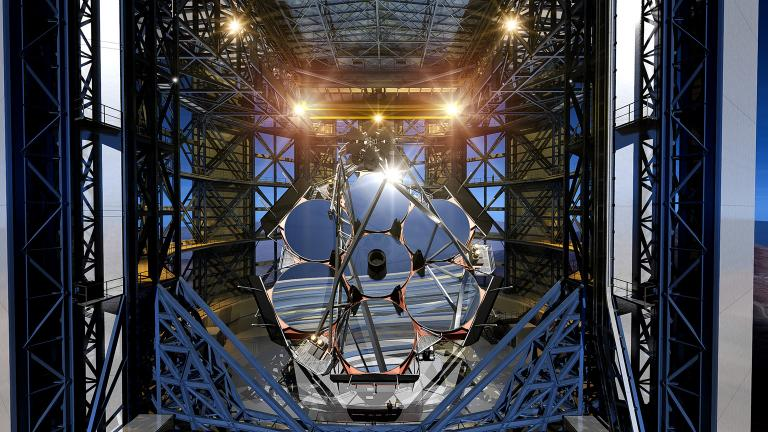 The GMT will consist of seven mirrors, each eight meters in diameter, to make a single optical surface that's 24.5 meters wide. (Giant Magellan Telescope – GMTO Corporation)