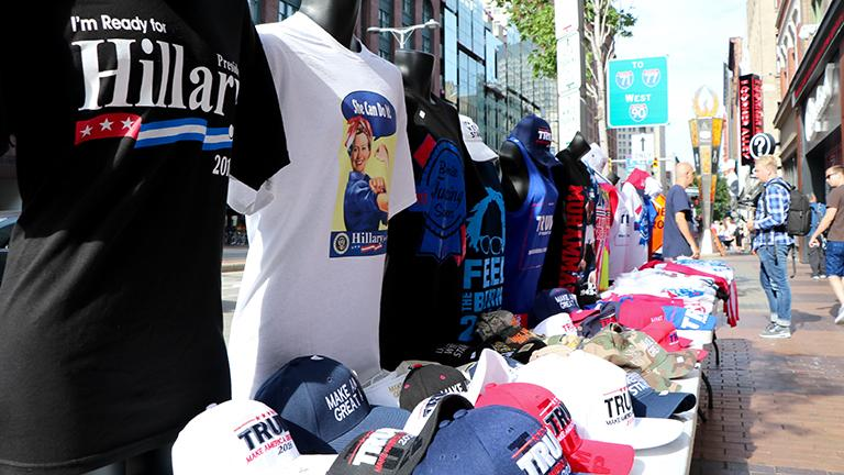 Merchandise for sale at the Republican National Convention. (Evan Garcia)
