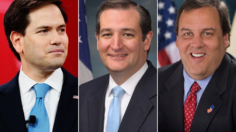 Marco Rubio, left, Ted Cruz, center, and Chris Christie