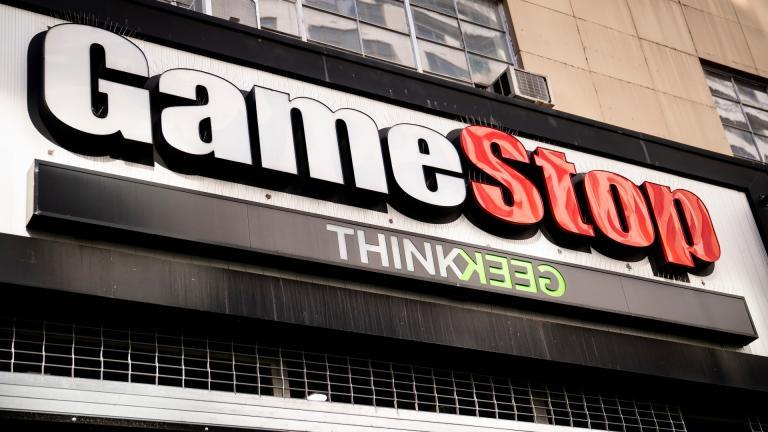 Pedestrians pass a GameStop store on 14th Street at Union Square, Thursday, Jan. 28, 2021, in the Manhattan borough of New York. (AP Photo / John Minchillo)