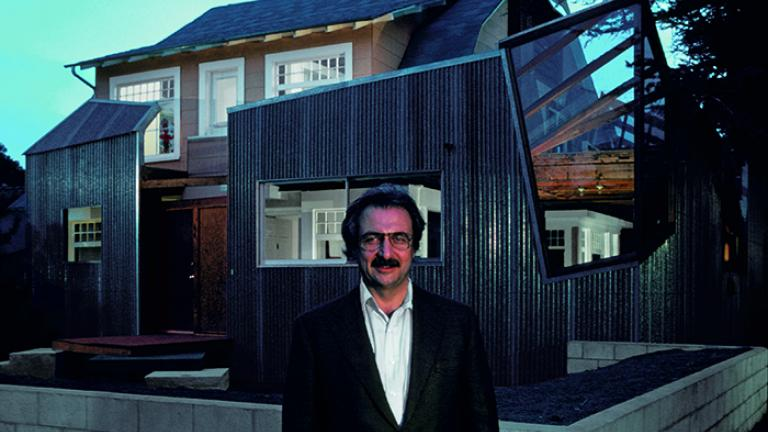 Frank Gehry stands in front of his newly completed house in Santa Monica, 1978. (Gehry Partners LLC)