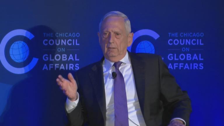 Gen. Jim Mattis speaks at a Chicago Council on Global Affairs event at the Hilton Chicago on Wednesday, Sept. 11, 2019. (WTTW News)