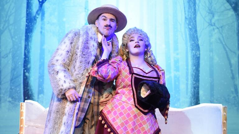 """Matt Crowle and Rachel Klippel in Porchlight Music Theatre's production of """"A Gentleman's Guide to Love & Murder."""" (Photo by Michael Courier)"""