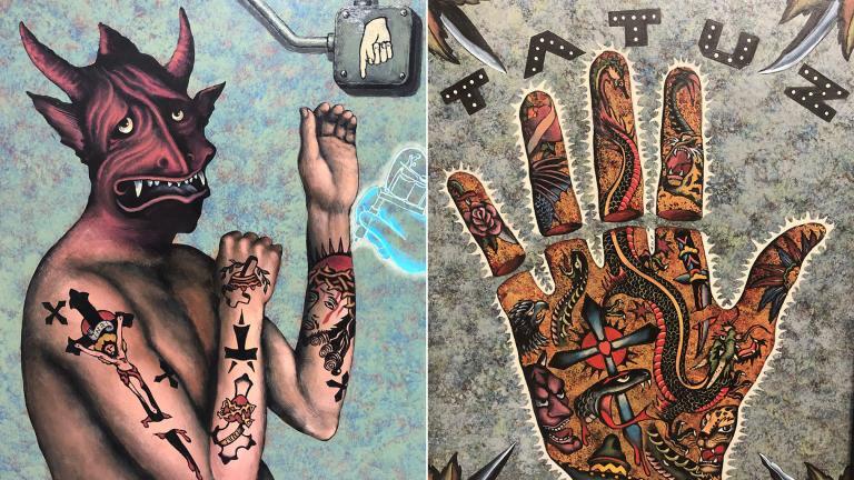 Photos of work by Chicago artist George Klauba. (Marc Vitali / WTTW News)
